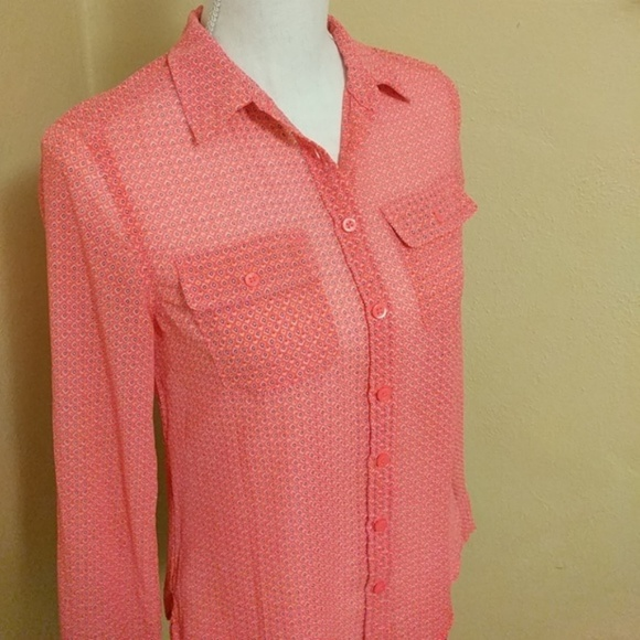 American Eagle Outfitters Tops - AEO • Sheer Pink Print Button Up Top